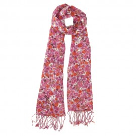 Red scarf with flower print