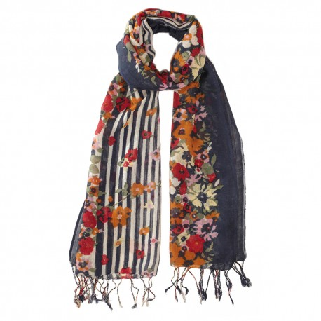 Navy scarf with flower print