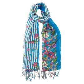 Blue scarf in silk and wool with flower print
