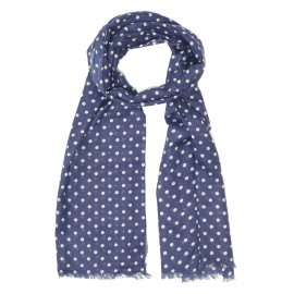Blue scarf with white dots