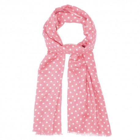 Rose scarf with white dots