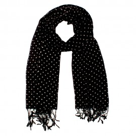 Black scarf with white dots
