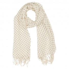 Off white scarf with black dots
