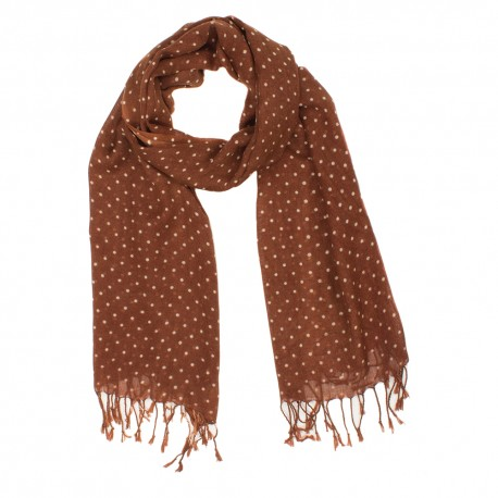 Brown scarf with white dots