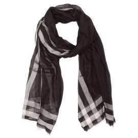 Black and white cashmere/modal scarf