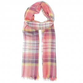 Pink checkered scarf i lambswool and silk