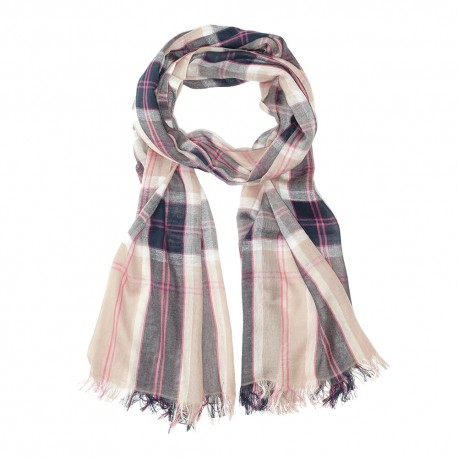 Tartan cotton scarf in beige and blue
