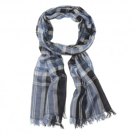 Blue tartan scarf in cotton