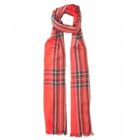 Red tartan scarf in cotton