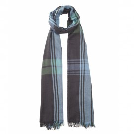 Black tartan scarf in cotton