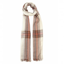 Off white tartan scarf in cotton