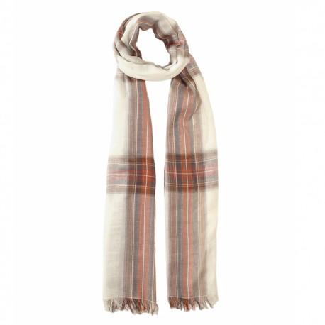 Off white tartan scarf in cotton