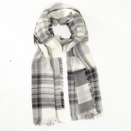 Black and white scarf in merino wool