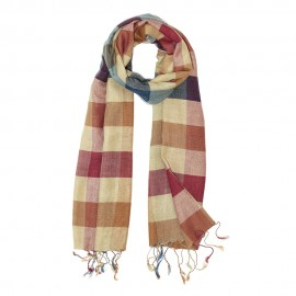 Checkered silk scarf in earth tones