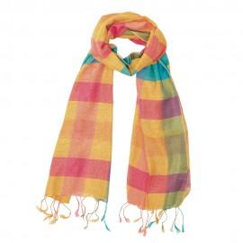 Checkered silk scarf in golden tones