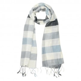 Checkered silk scarf in blue tones