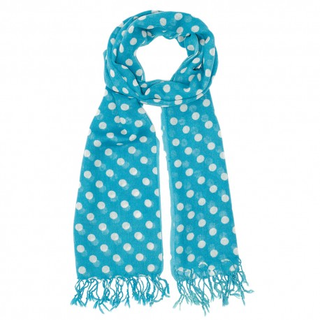 Turquoise scarf with white dots