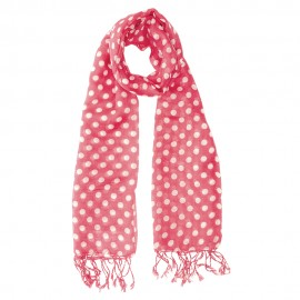 Pink scarf with white dots