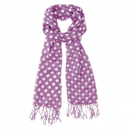 Purple scarf with white dots