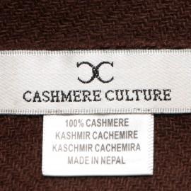 Dark brown cashmere scarf in twill weave