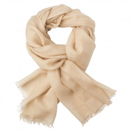 Beige pashmina stole in 2 ply twill weave