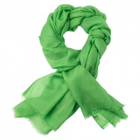 Grass green pashmina stole in 2 ply twill weave