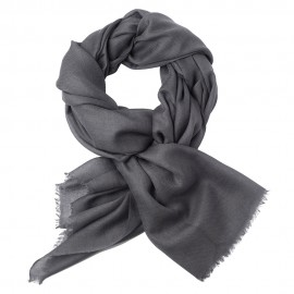 Dark grey pashmina stole in 2 ply twill weave