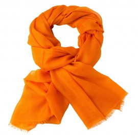 Orange pashmina shawl in 2 ply twill weave