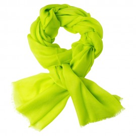 Lime green pashmina stole in 2 ply twill weave
