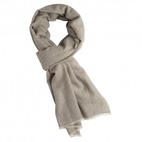 Cashmere scarf in white/grey melange