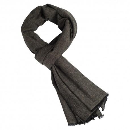 Cashmere scarf in black/taupe melange