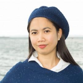 Blue flecked cashmere beret