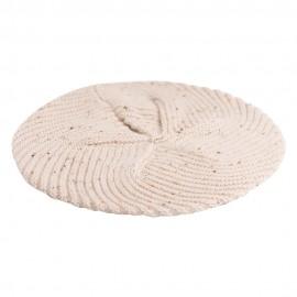 Beige flecked cashmere beret