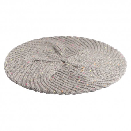 Grey flecked cashmere beret