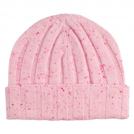 Soft pink flecked rib knitted cashmere hat
