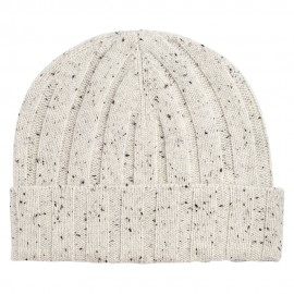 White flecked rib knitted cashmere hat