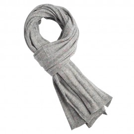 Grey flecked cashmere scarf