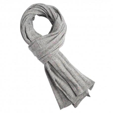 Grey flecked cashmere scarf