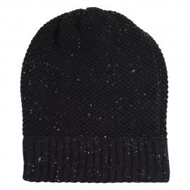 Black flecked cashmere beanie