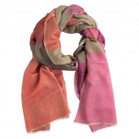 Checkered silk/cashmere shawl in beige/red/violet
