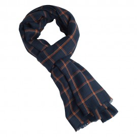 Blue tartan scarf with orange checkers