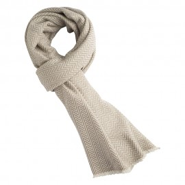 Herringbone scarf in white/grey