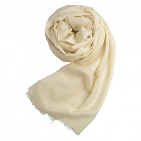 Off-white pashmina shawl in cashmere and silk
