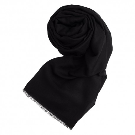 Black pashmina shawl in cashmere and silk