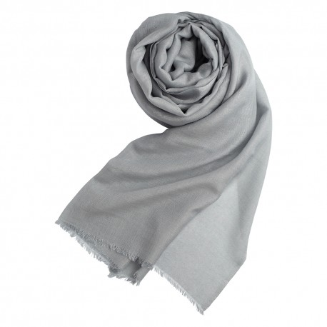 Light grey pashmina shawl in cashmere and silk