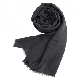 Dark gry pashmina shawl in cashmere and silk
