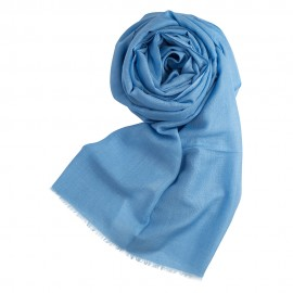 Sky blue pashmina shawl in cashmere and silk