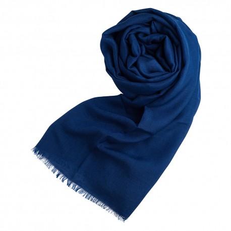 Dark blue pashmina shawl in cashmere and silk