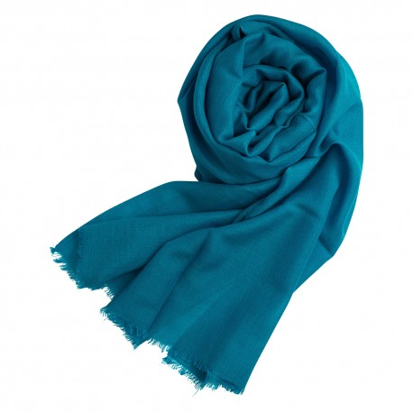 Petrol blue pashmina shawl in cashmere and silk
