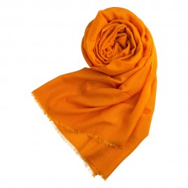 Orange pashmina shawl in cashmere and silk